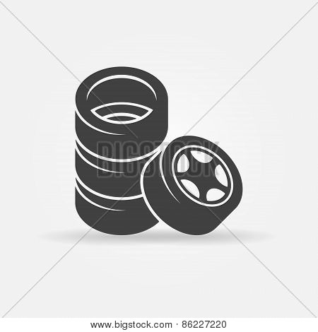 Tires vector black icon