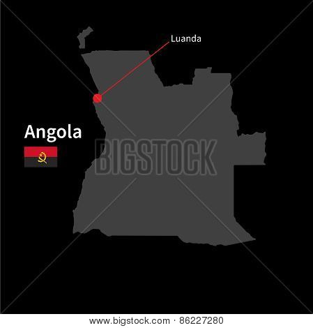 Detailed map of Angola and capital city Luanda with flag on black background