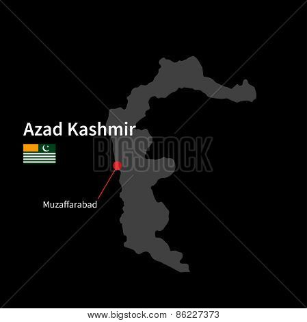 Detailed map of Azad Kashmir and capital city Muzaffarabad with flag on black background