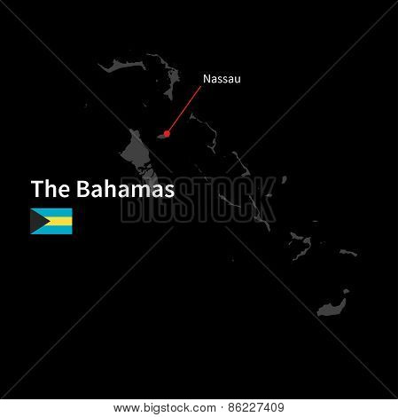 Detailed map of Bahamas and capital city Nassau with flag on black background