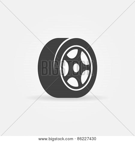 Tyre black symbol or icon
