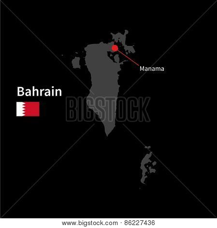 Detailed map of Bahrain and capital city Manama with flag on black background