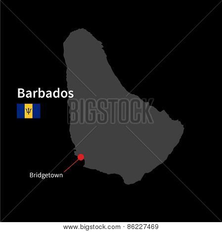 Detailed map of Barbados and capital city Bridgetown with flag on black background