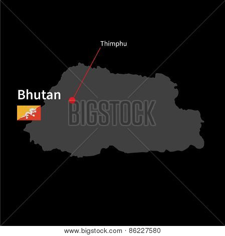 Detailed map of Bhutan and capital city Thimphu with flag on black background