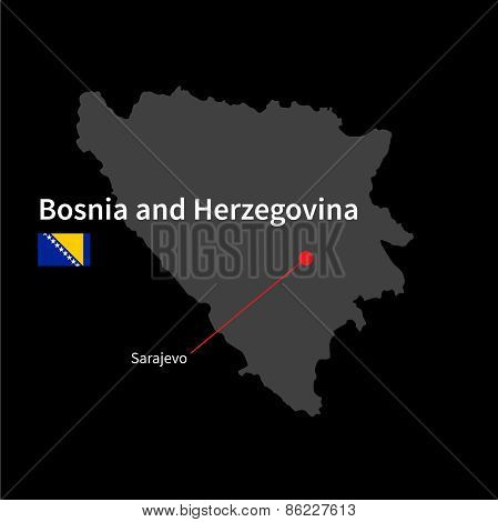 Detailed map of Bosnia and Herzegovina and capital city Sarajevo with flag on black background