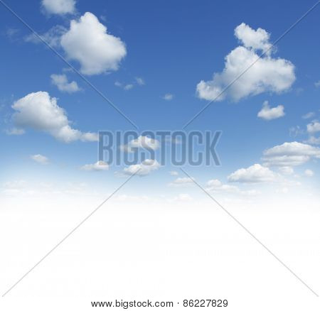 Fluffy white clouds in sky, blank copy space