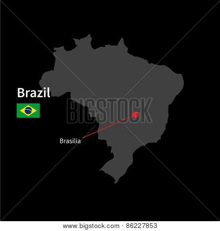 Detailed map of Brazil and capital city Brasilia with flag on black background