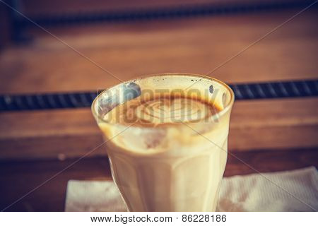 Cup Of Latte Coffee - Vintage Effect Style Pictures