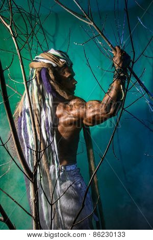 Muscular Man With Dreadlocks In The Forest