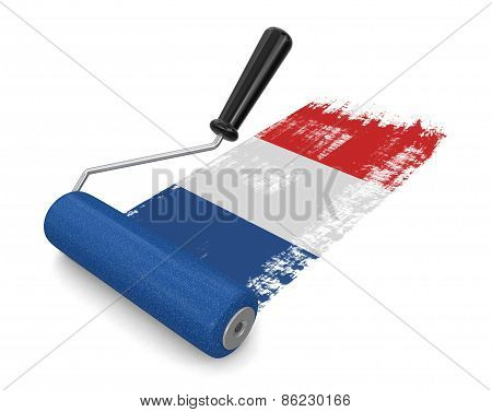 Paint roller with French flag (clipping path included)