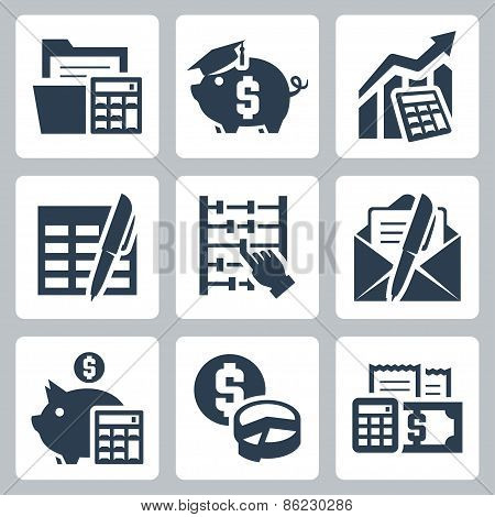 Budget, Accounting Vector Icons Set