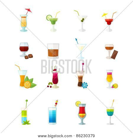Multicolored cocktail icons set