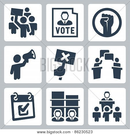 Politics Related Vector Icons Set