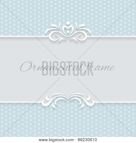 Paper lace frame with seamless borders over ornamental blue background, vector