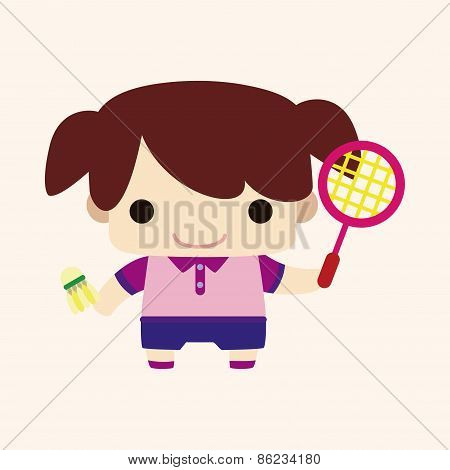 Badminton Player Theme Elements