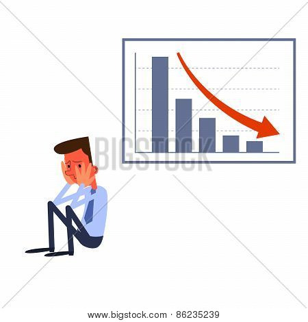 Frustrated businessman sitting near a table with negative statistics