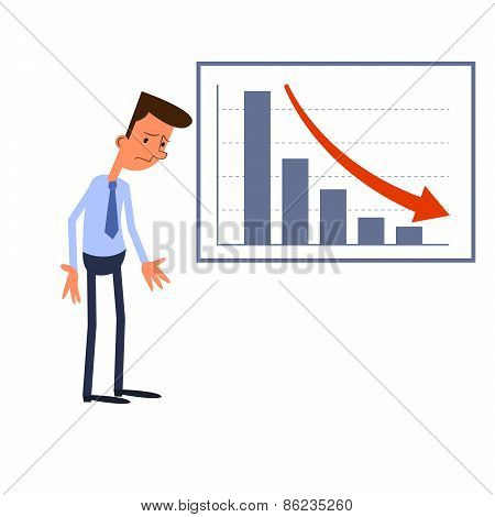 Frustrated businessman standing near a table with negative statistics