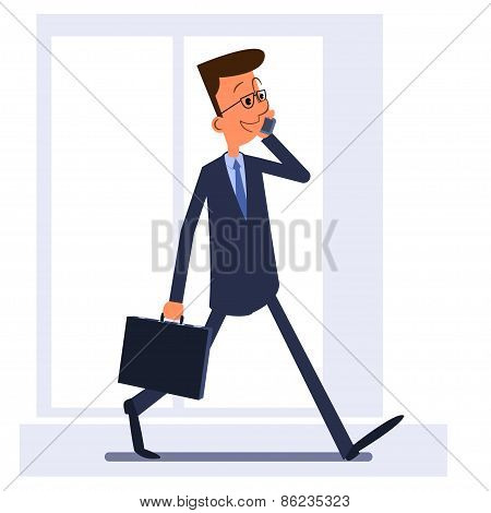 Man Holding Briefcase Walking And Talking On The Phone