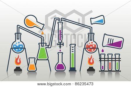 Laboratory Glassware Vector Composition