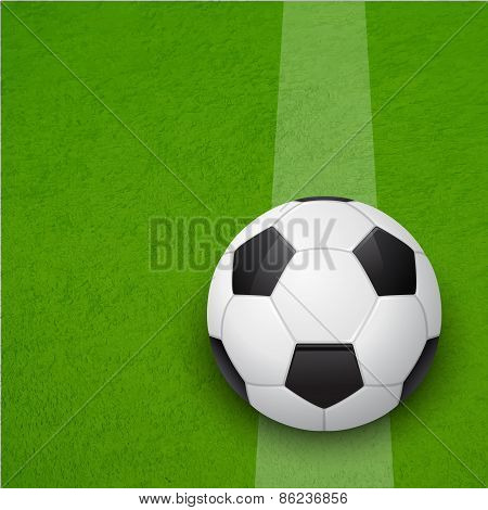 Soccer Ball On The Field. Vector Background.