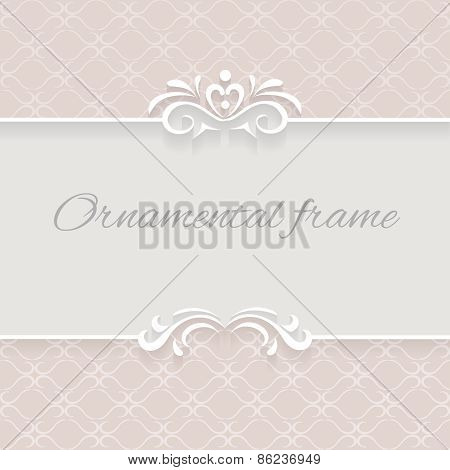 Paper lace background, ornamental vector frame with lacy seamless borders, eps10