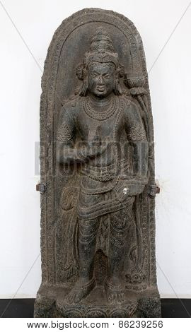 KOLKATA, INDIA - FEBRUARY 15: Manjusri, from 9/10th century found in Basalt, Bihar now exposed in the Indian Museum in Kolkata, on February 15, 2014