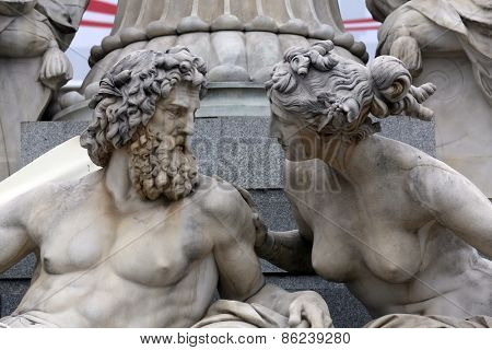 VIENNA, AUSTRIA - OCTOBER 11: Detail of Pallas-Athene fountain in front of Austrian parliament, Vienna, Austria. Sculptures represent rivers Danube and Inn  in Vienna, Austria on October 11, 2014.