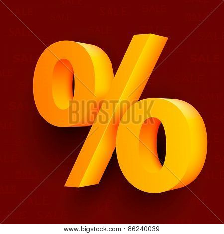 Golden percent sign on red background