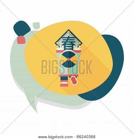 Chinese New Year Flat Icon With Long Shadow,eps10, The Little Boy To Stick Couplets, Chinese Festiva