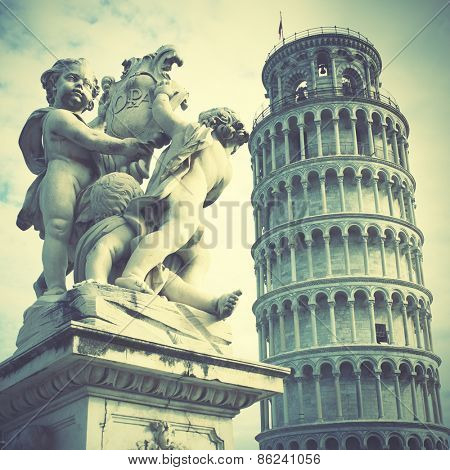 Leaning Tower of Pisa. Instagram style filtred image