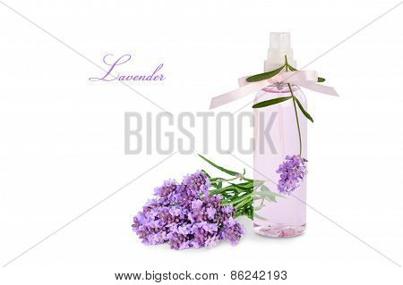 Lavender Product In Spray Bottle, Flowers Isolated