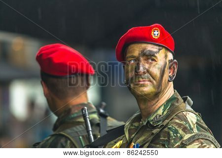 ATHENS, GREECE - MAR 25, 2015: During Independence Day or Day of National Revival Greece is an annual national holiday, on this day, Greeks pay tribute to the heroes of the Revolution 1821-1829.