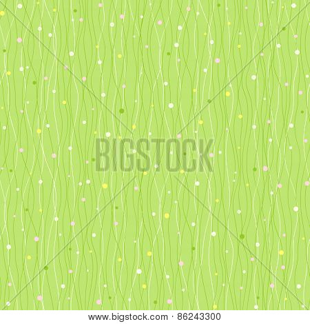 Wavy Lines And Dots. Green Seamless Pattern.