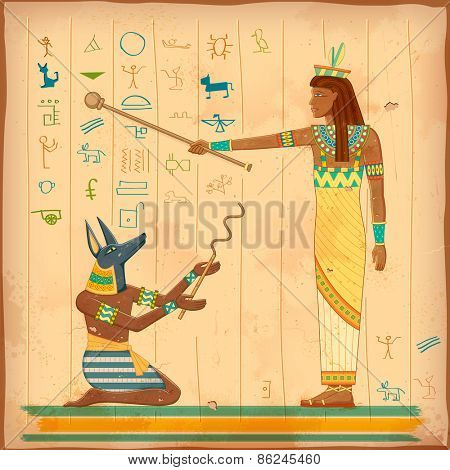 illustration of Egyptian art of human engraved on vintage wall