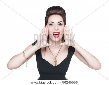 Young Woman In Retro Pin Up Style Shouting Through Megaphone Shaped Hands