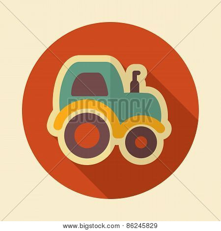 Tractor Retro Flat Icon With Long Shadow