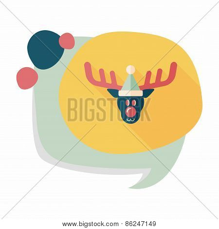 Reindeer Flat Icon With Long Shadow, Eps10