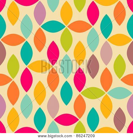 Abstract geometric spindle shape colorful seamless pattern