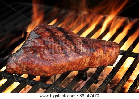 Beef Steak On The Flaming Hot Bbq Grill.