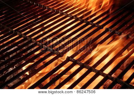 Empty Barbecue Grill With Flames And Copy Space
