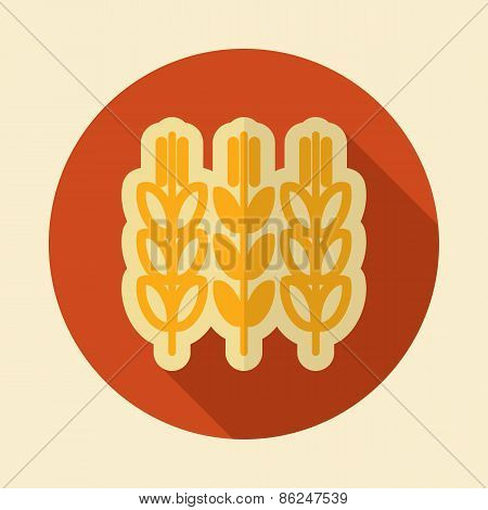 Spikelets Wheat Retro Flat Icon With Long Shadow