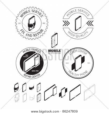 Set Of Mobile Repair Service Logos, Labels, Badges And Design Elements