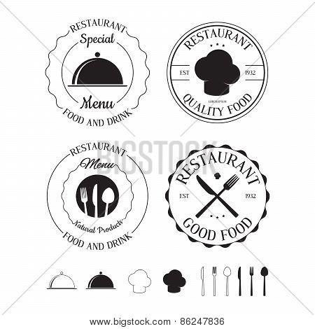 Set Of Restaurant Logos, Labels, Badges And Design Elements