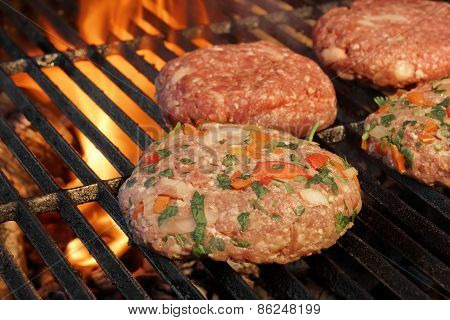 Tasty Burgers On The Barbecue Grill. Summer Party Image.