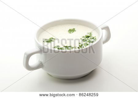 Cream Soup with Greens over White