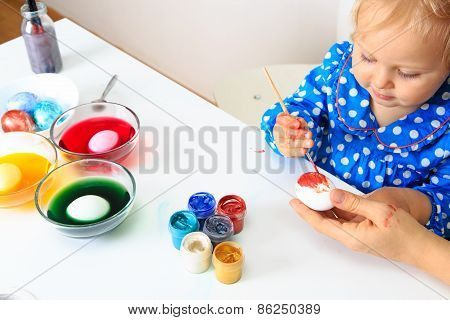 mother and little daughter painting easter eggs