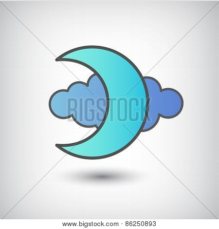 vector moon and cloud icon isolated