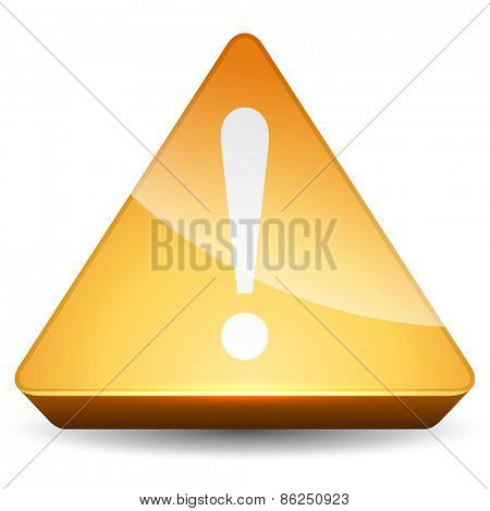 Yellow attention vector sign isolated on white background.