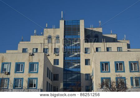 KIEV, UKRAINE -FEB 17, 2015: Typical modern polyclinic of city district. .February 17, 2015 Kiev, Ukraine