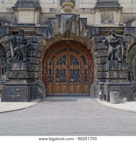 vintage door and statues Dresden, Germany